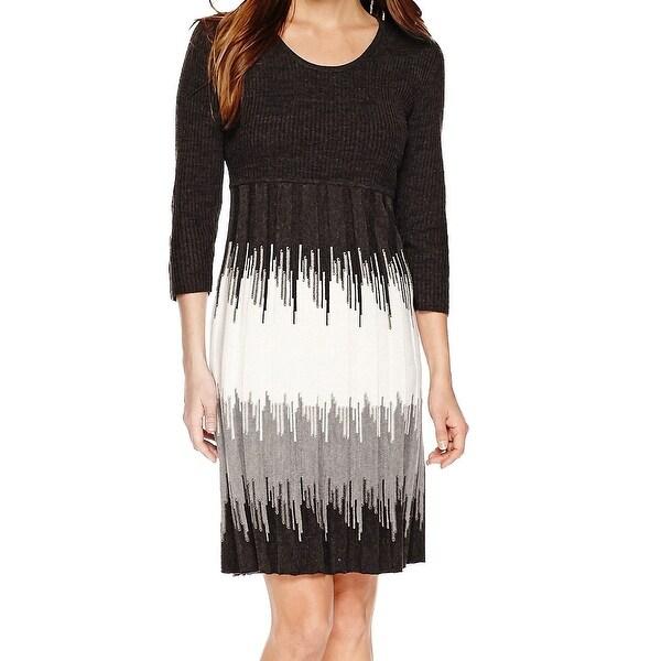 Shop Studio One New Black Womens Large Pl Petite Colorblock Sweater