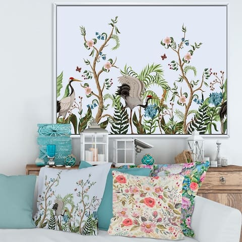 Designart 'Border With Cranes & Peonies In Chinoiserie Style' Traditional Framed Canvas Wall Art Print