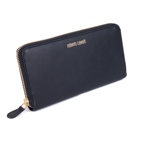 Roberto Cavalli Black Smooth Leather Logo Zip around Continental Wallet - no size
