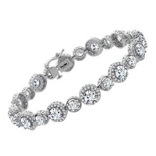 Tennis Bracelet with Swarovski Zirconia in Sterling Silver - White