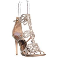 Badgley Mischka Teri Rhinestone T-Strap Sandals, Platino