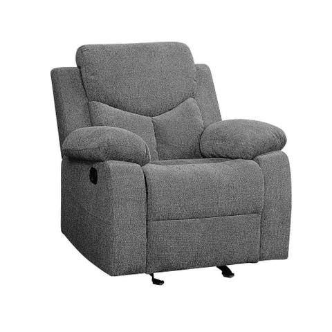 Living Room Kalen Glider Recliner with Back&Seat Cushion-Gray Chenille