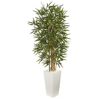 Nearly Natural 5.5' Bamboo Artificial Tree in White Tower Planter
