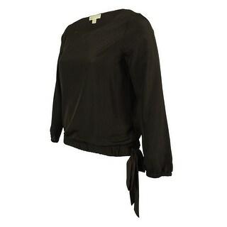 Michael Kors Women's Long Sleeve Tie Hem Top