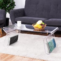 Costway 38'' Clear Acrylic Coffee Table Cocktail Table with Integrated Magazine Rack