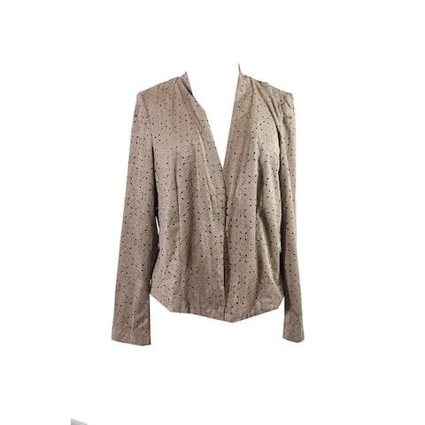 Alfani Brown Laser Cut Print Faux-Suede Jacket L
