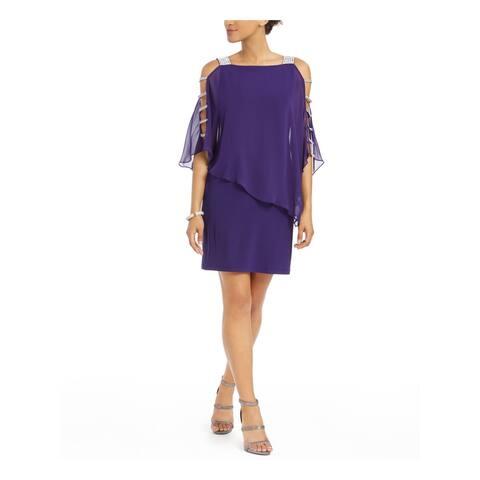 MSK Purple Sleeveless Above The Knee Dress M