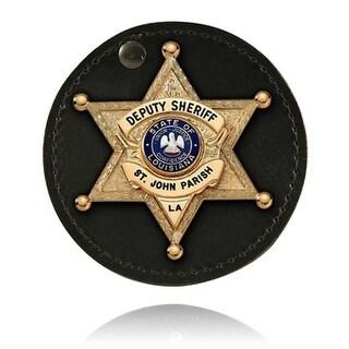 Boston Leather 5889-1 3.5 Round Swivel Badge Holder