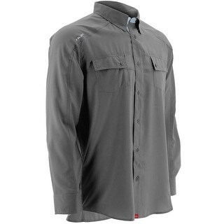 Huk Men's Next Level Charcoal Grey Small Button Up Long Sleeve