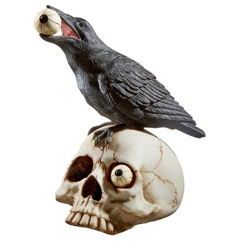 Design Toscano All-Seeing Harbinger of Doom Raven and Skull Statue
