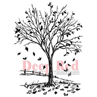 """Deep Red Cling Stamp 3""""X4""""-Fall Leaves"""