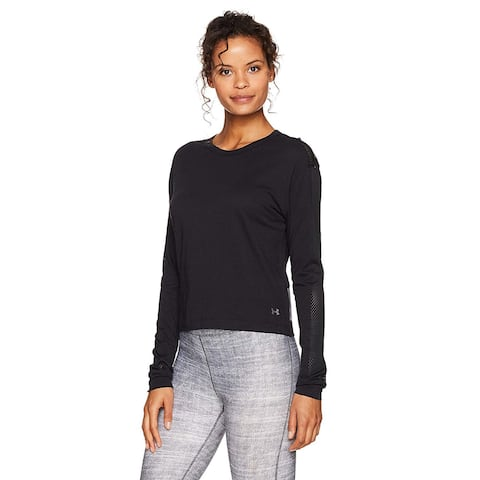 Under Armour Women's Favorite Mesh Graphic Long Sleeve Top Black Graphite Size Extra Large - X-Large