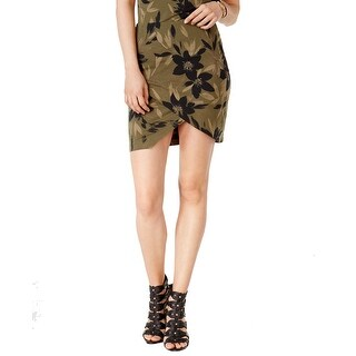 GUESS Amore Printed Tulip Front Knit Skirt Camouflora Olive Night - XL