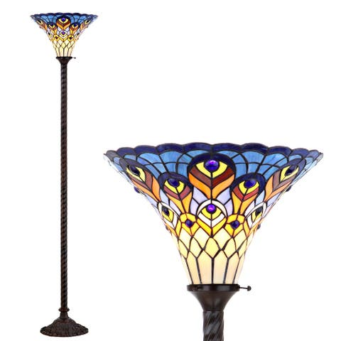 """Peacock Tiffany-Style 70"""" Torchiere LED Floor Lamp, Bronze by JONATHAN Y - 70"""" H x 15"""" W x 15"""" D"""