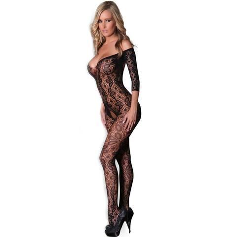 Cali Chic Women's Lingerie Body Stocking Celebrity Black Lace Floral Open Tight Super Decollete