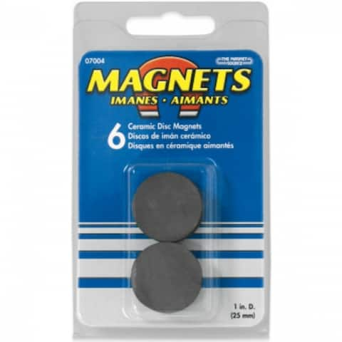 """The Magnet Source 07004 Ceramic Disc Magnets, 1""""D x 0.15625"""" Thick, 6-Piece"""