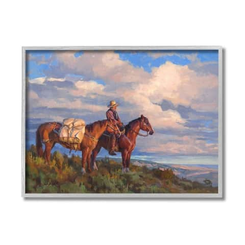 Stupell Industries Cowboy with Horses Countryside Hill Top Framed Wall Art