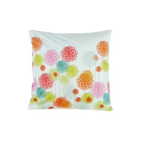 Fabric Accent Pillow with Floral Pattern, Multicolor