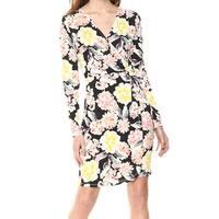 French Connection Yellow White Womens Size 0 Faux Wrap Sheath Dress
