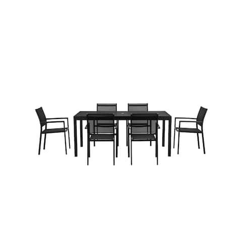 David 7 Piece Dining Set, Black Black