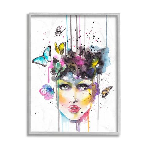 Stupell Industries Abstract Female Fashion Portrait Butterfly Watercolor Framed Wall Art