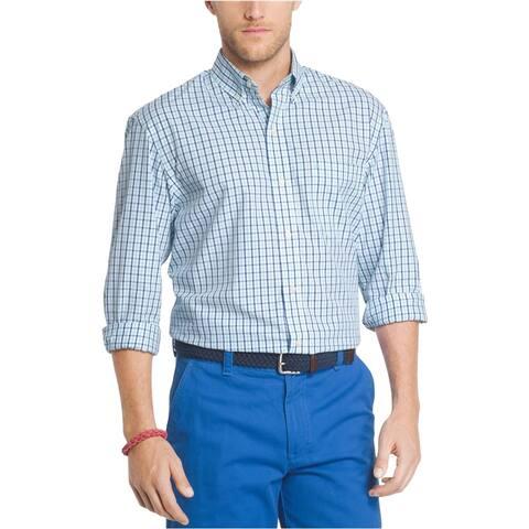 IZOD Mens Advantage Gingham Button Up Shirt, Blue, Small