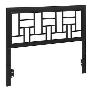 Offex Powder Coated Metal Queen Square Headboard - Black