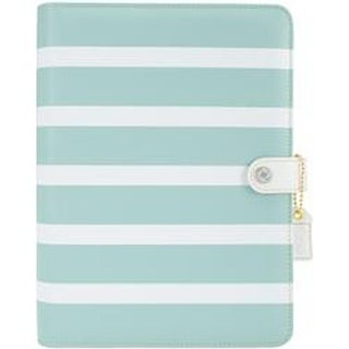 "Teal Stripe - Color Crush A5 Faux Leather Planner Kit 7.5""X10"""
