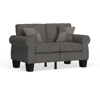 Link to Furniture of America Nele Contemporary Linen Fabric Padded Loveseat Similar Items in Living Room Furniture