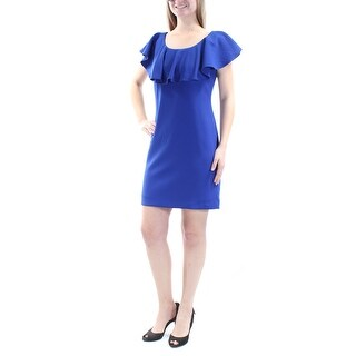 Womens Blue Sleeveless Mini Body Con Cocktail Dress Size: 6