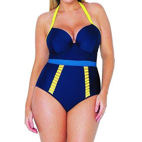 Curvy Kate Women's Swimwear Yellow Blue Size 36DD One-Piece Colorblocked