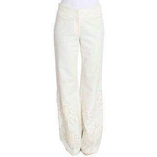 Ermanno Scervino Ermanno Scervino White Stretch Sequined Pants - it42-m