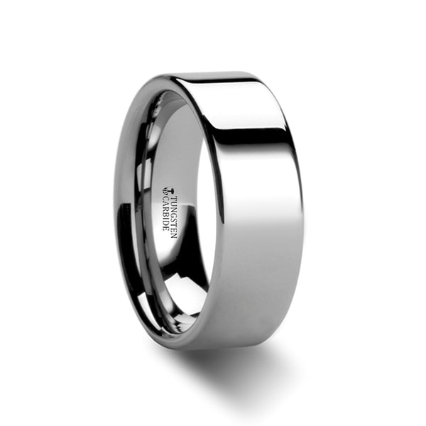 THORSTEN - STOCKTON Flat Style White Tungsten Ring - 7mm