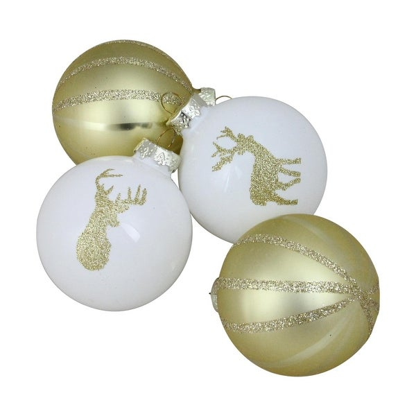 "4-Piece Champagne Gold and White Striped Deer Christmas Glass Ball Ornaments 3.5"" (90mm)"