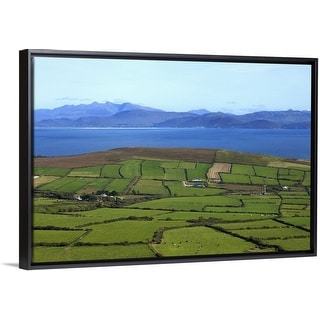 """Pastoral Countyside Overlooking Dingle Bay and the Distant Ring of Kerry, Ireland"" Black Float Frame Canvas Art"