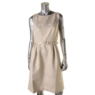 Anne Klein Womens Metallic Pleated Wear to Work Dress - 6