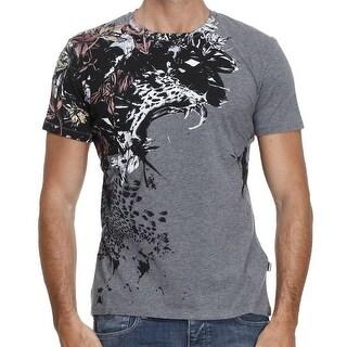 Just Cavalli NEW Gray Mens Size Medium M Floral Leopard Tee T-Shirt
