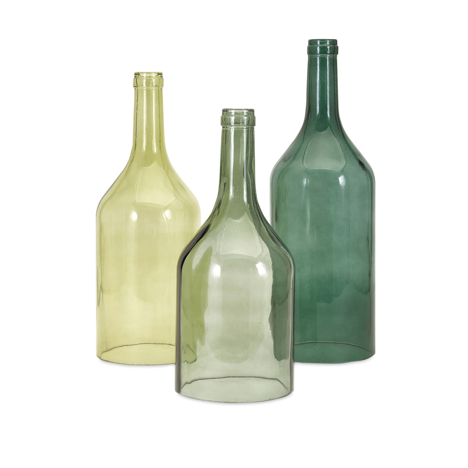 IMAX Home 96455-3 Persimmon Glass Bottles by Trisha Yearwood - Set of 3 - - Green