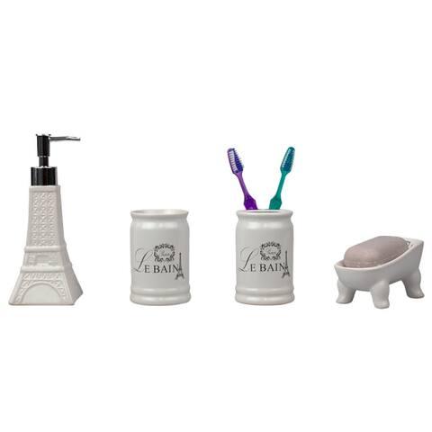 Le Bain Paris Eiffel Tower 4 Piece Ceramic Bath Accessory Set, White