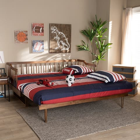 Muriel Modern and Transitional Expandable Twin to King Spindle Daybed