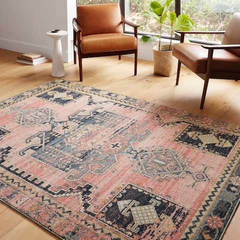 Alexander Home Luxe Rose Antiqued Distressed Area Rug