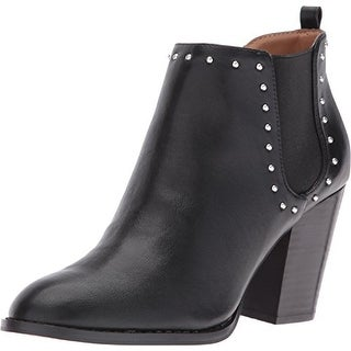 Report Maysonia Women Round Toe Leather Black Ankle Boot