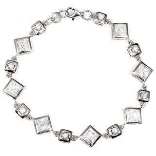 White Cubic Zirconia Sterling Silver Square Chain Bracelet by Orchid Jewelry