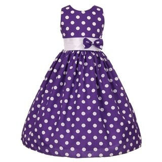 Little Girls Purple White Polka Dot Allover Bow Accented Easter Dress 2T-6