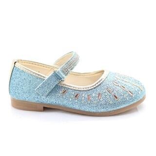 Little Girls Blue Glitter Stone Encrusted Mary Jane Dress Shoes
