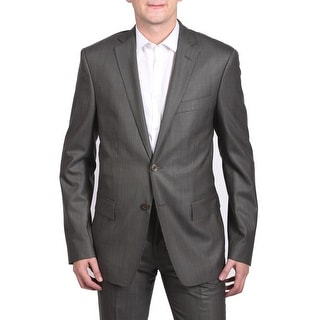 Versace Collection Men's Diagonal Stitch Two-Piece Wool Suit Grey/Brown