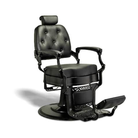 ADAMS Vintage Barber Chair Reclining Heavy Duty Barber Chair, Black/Black