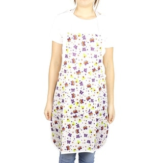Home Flower Butterfly Pattern Water Resistant Front Patch Pocket Apron Colorful