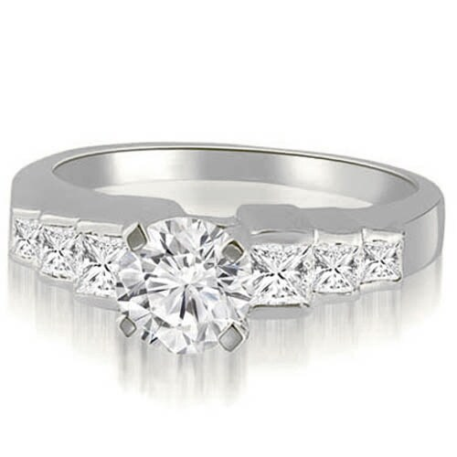 1.65 cttw. 14K White Gold Step Set Round And Princess Diamond Engagement Ring