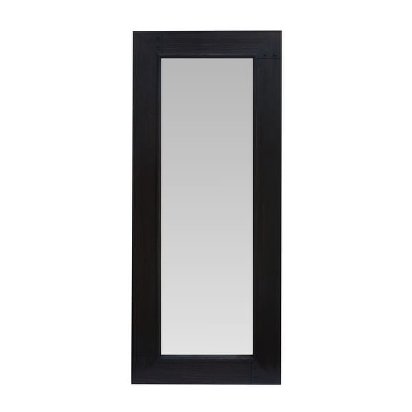 67 Inch Leaning Floor Full Length Mirror with Wooden Framework, Brown. Opens flyout.